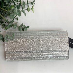 INC Marietta Elongated Glitter Clutch Silver Bag
